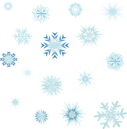 collection of vector snowflakes and stars