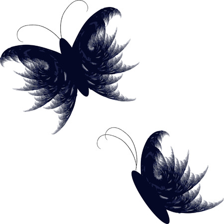 Feathery butterfly set Vector
