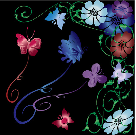gradient colored vector flowers, butterflies and vines on black