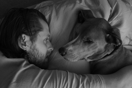 snuggling: Man and Dog Snuggling while Falling Asleep
