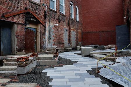 City alleyway under construction Stock fotó