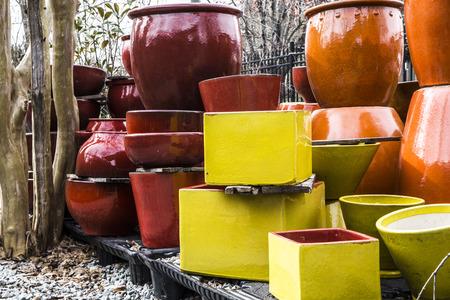plant pots: Ceramic plant pots near tree