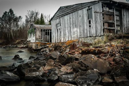 shorelines: Dilapitated fishing shacks