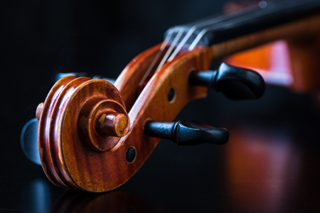 scroll: Violin Scroll on Black Background Stock Photo