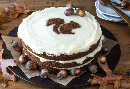 layer cake: Squirrel Stencil Spiced Layer Cake