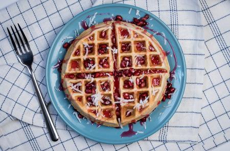 Pomegranate Coconut Waffle