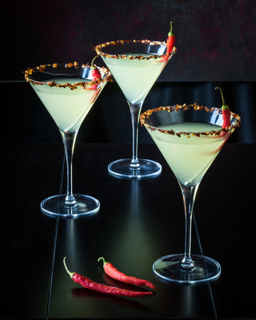 Chili Pepper Martinis with Black Background