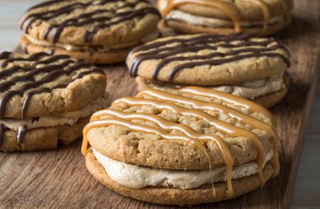 Peanut Butter Marshmallow Cream Sandwich Cookies Stock Photo