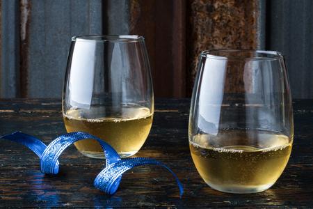 White Wine in Stemless glasses Banco de Imagens