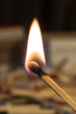 Burning match with matches in the background