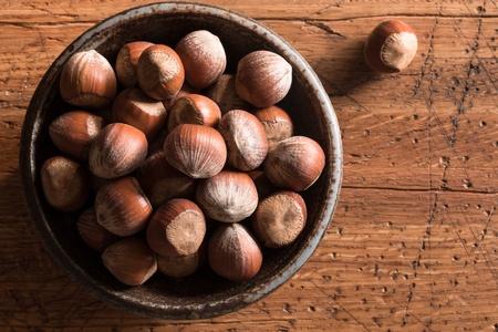 Hazelnuts on the farmhouse table