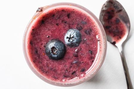 Top view of a blueberry smoothie Banco de Imagens