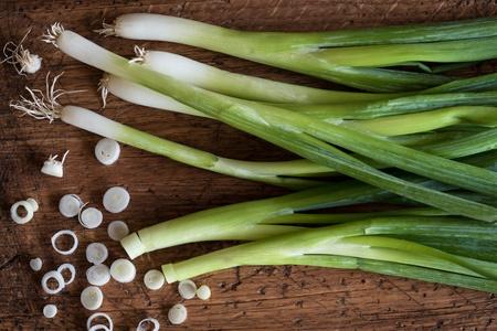 Green onions on a cutting board
