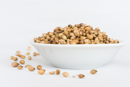 Coriander Seeds in a white bowl 写真素材