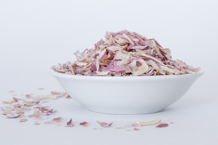 Dried Shallots in a white bowl