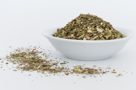 Italian Seasoning in a white bowl Imagens