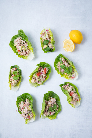 Tuna lettuce wraps on top of a white surface with lemon on a light background. Top view with many tuna salad lettuce wraps.