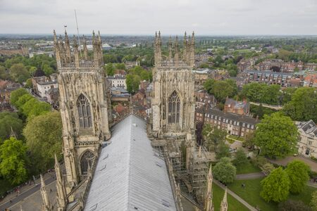 View of York Minster Tower in England. Panoramic view of two towwers and the city of York.