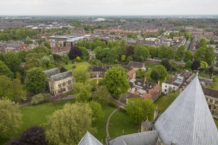 Panoramic view of the city of York from the York Minster Cathendral in England. Cloudy day.