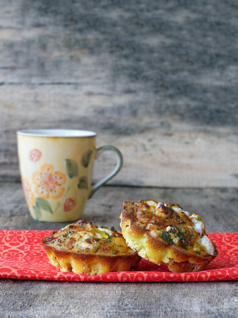 mini oven: Little egg muffin omelets with goat cheese