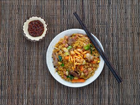 Nasi goreng with sambal, Indonesian fried rice with chili paste