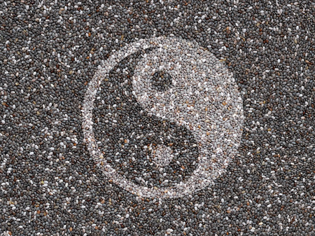 Chia seeds with Yin Yang symbol photo