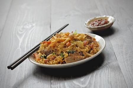 nasi: Nasi goreng with sambal - Fried rice with chili paste