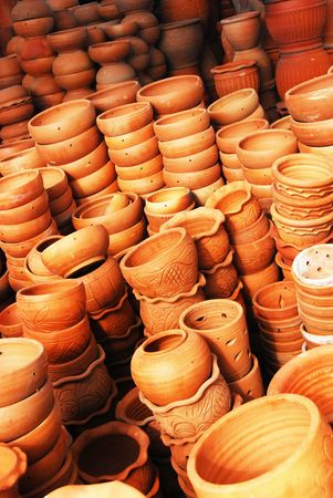 red clay: Assorted of red clay pots Stock Photo
