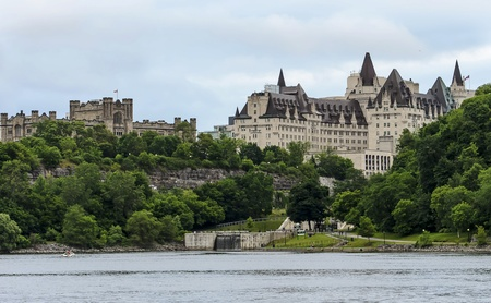 The Fairmont Chateau Laurier Hotel and the Rideau locks along with Canada Revenue Agency Headquarters in downtown Ottawa