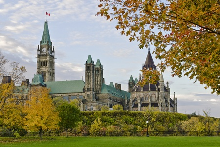 stately: The Canadian Parliament and Library during the Fall colors  Editorial