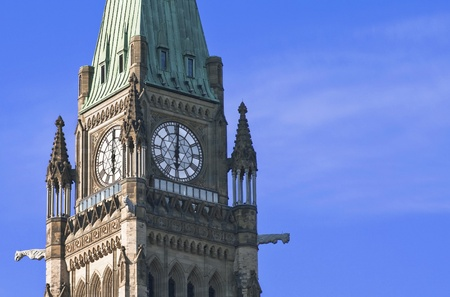The Canadian Parliament Peace Tower at 6 O Stock Photo - 13022788
