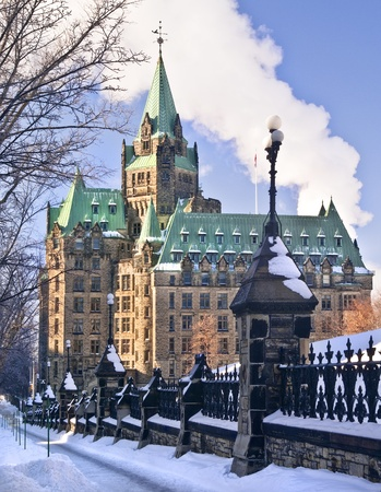 The canadian Parliament Confederation building on Wellington Street in Ottawa.