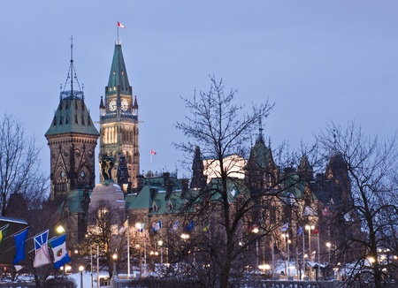 The Canadian Parliament Centre and East Blocks in Ottawa, Onta, Canada  Stock Photo - 13113133
