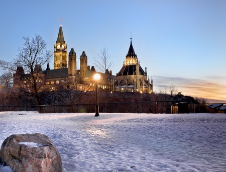 The Canadian Parliament in winter, seen from Major Stock Photo - 13113085