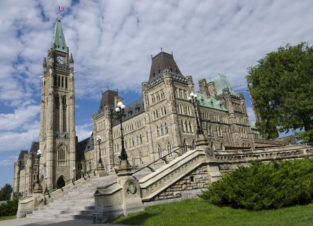 legislative: The Canadian Parliament Centre Block during summer on a sunny day