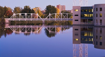 Modern city bridges with reflection  photo