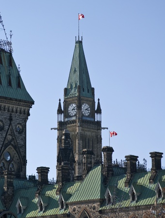 The canadian Parliemant behind the East Block roof  photo