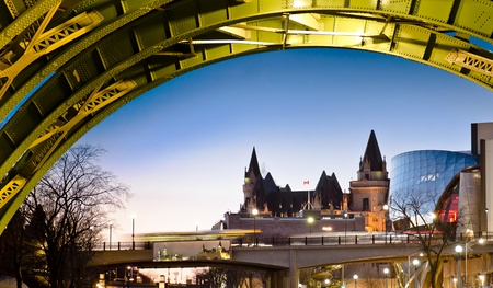 The Fairmont Chateau Laurier Hotel seen from under the Laurier Street bridge in Ottawa Stock Photo - 13289802