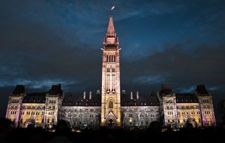 The canadian Parliament during the sound and light show in Ottawa, Canada  photo