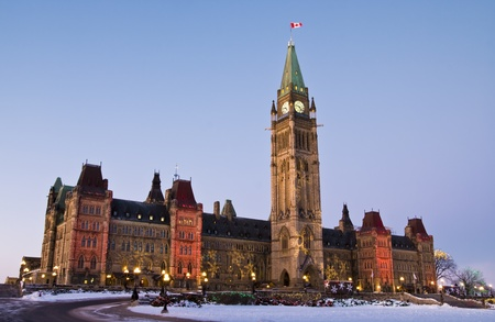 The canadian Parliament Centre block during the Holiday Season in Ottawa, Canada  Stock Photo