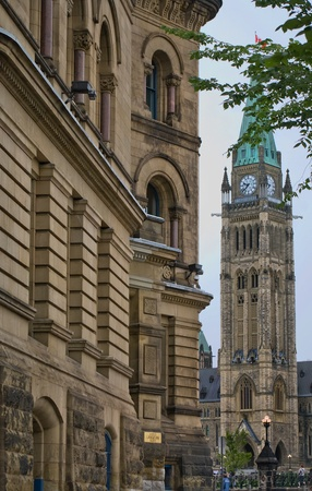 The canadian Parliament Centre and Langevin blocks in Ottawa Canada