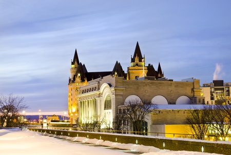 conference centre: The Government Conference Centre with the Fairmont Chateau Laurier Hotel in the background in Ottawa Canada  Editorial