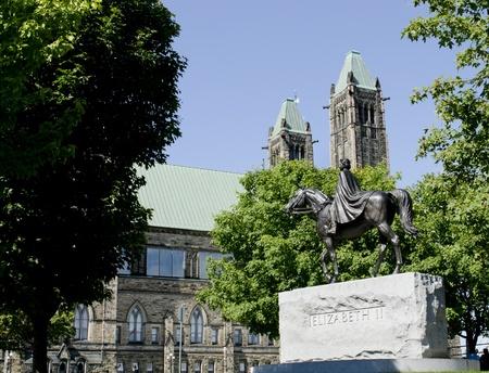 The statue of Queen Elizabeth II on Parliament Hill in Ottawa Canada