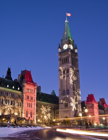 The canadian Parliament during the Holiday season in December