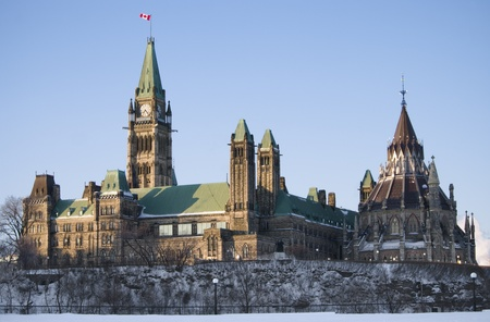 The canadian Parliament Centre block and Library seen from Major