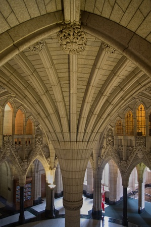 Inside the canadian Parliament Rotunda with its gothic architecture in Ottawa, Canada
