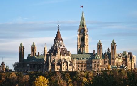 De parlementsgebouwen in Ottawa Canada in de herfst