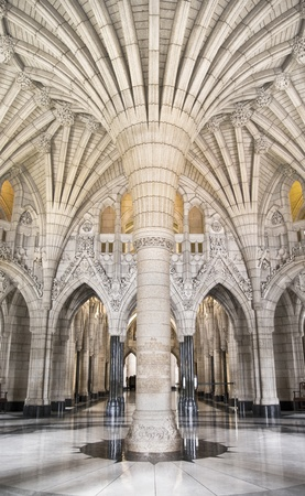 The canadian Parliament entrance Rotunda with gothic architecture