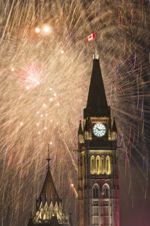 The canadian Parliament during the fireworks on Canada Day