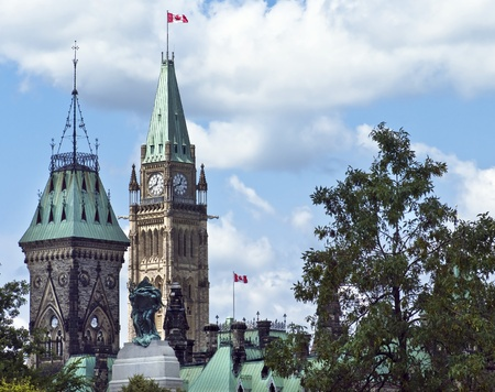 The canadian Parliament with the East and Centre Block towers